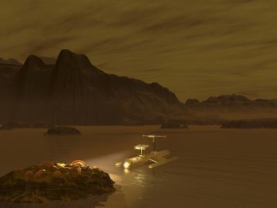 Artist's Concept of a Robotic Probe Exploring a Frigid Ethane Lake on Titan-Stocktrek Images-Photographic Print