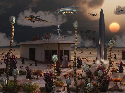 Artist's Concept of a Science Fiction Alien Landscape-Stocktrek Images-Photographic Print