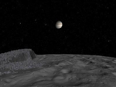 Artist's Concept of a View across the Surface of Themisto Towards Jupiter and its Moons-Stocktrek Images-Photographic Print