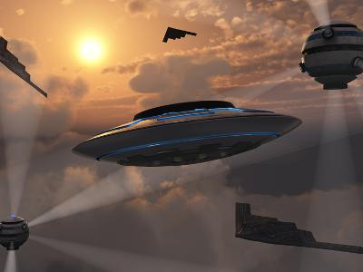 Artist's Concept of Alien Stealth Technology-Stocktrek Images-Photographic Print