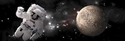 Artist's Concept of an Astronaut Floating by a Heavily Cratered Moon-Stocktrek Images-Art Print