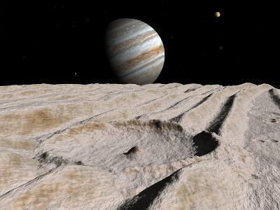 Artist's Concept of an Impact Crater on Jupiter's Moon Ganymede, with Jupiter on the Horizon-Stocktrek Images-Photographic Print