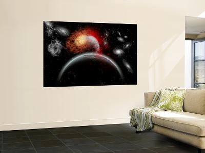 Artist's Concept of Cosmic Contrast in the Night Sky-Stocktrek Images-Wall Mural