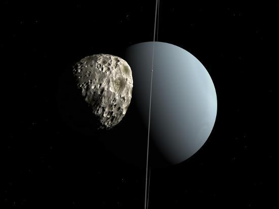 Artist's Concept of How Uranus and its Tiny Moon Puck-Stocktrek Images-Photographic Print