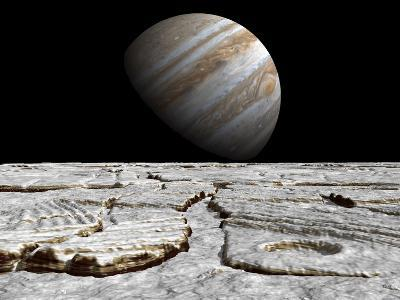 Artist's Concept of Jupiter as Seen across the Icy Surface of its Moon Europa-Stocktrek Images-Photographic Print