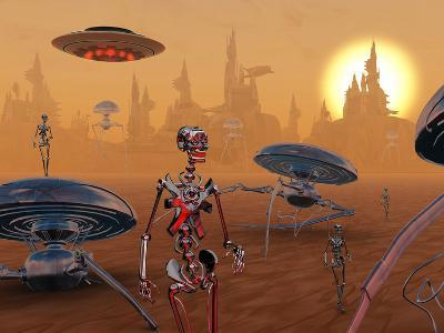 Artist's Concept of Life on Mars Long Ago-Stocktrek Images-Photographic Print