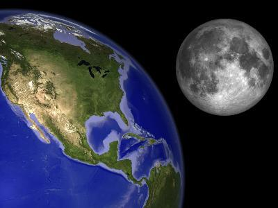 Artist's Concept of the Earth and its Moon-Stocktrek Images-Photographic Print