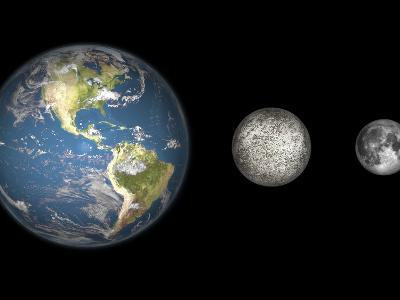 Artist's Concept of the Earth, Mercury, and Earth's Moon to Scale-Stocktrek Images-Photographic Print