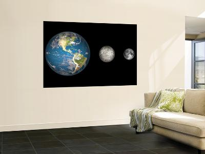Artist's Concept of the Earth, Mercury, and Earth's Moon to Scale-Stocktrek Images-Wall Mural