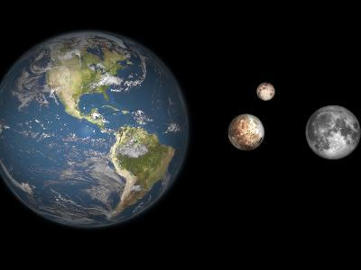 Artist's Concept of the Earth, Pluto, Charon, and Earth's Moon to Scale-Stocktrek Images-Photographic Print