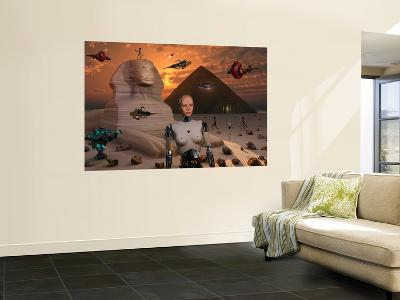 Artist's Concept of the Pyramids and Sphinx Being Built by an Advanced Alien Race-Stocktrek Images-Wall Mural