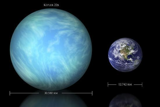 Artist's Depiction of the Difference in Size Between Earth and Kepler 22B--Art Print