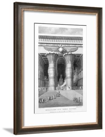 Artist's recreation of a large Egyptian temple, 1799-Pierre Nicolas Ransonette-Framed Giclee Print