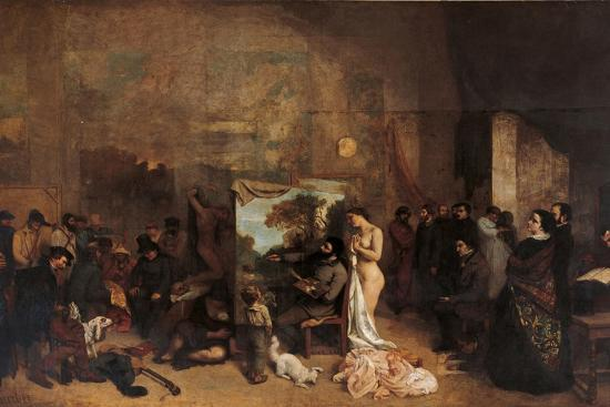 Artist's Studio-Gustave Courbet-Premium Giclee Print