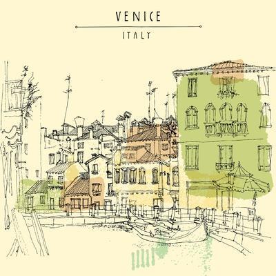 Artistic Freehand Illustration Postcard with a Touristic City View of Canareggio, Venice, Italy, Eu-babayuka-Art Print
