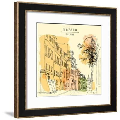 Artistic Illustration of a Street in in Old Center of Warsaw, Poland, Europe. Historical Buildings-babayuka-Framed Premium Giclee Print