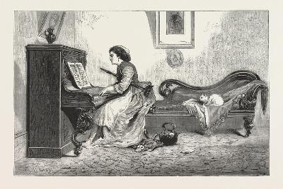 Artistic Recreation., Piano, Playing, Female, Woman, Interior, Cat, Room, 1876, Uk--Giclee Print
