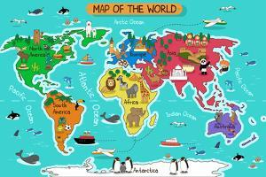 Map of the World by Artisticco LLC