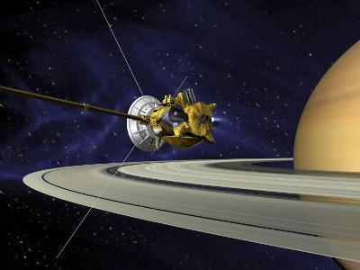 Artists Concept of Cassini During the Saturn Orbit Insertion Maneuver-Stocktrek Images-Photographic Print