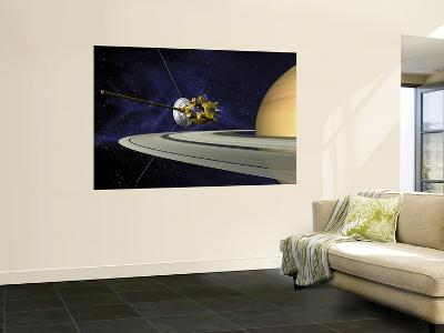 Artists Concept of Cassini During the Saturn Orbit Insertion Maneuver--Wall Mural
