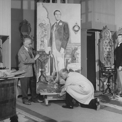 """Artists Malvin Albright and Ivan Albright, Working on their Portrait of """"Dorian Gray"""""""