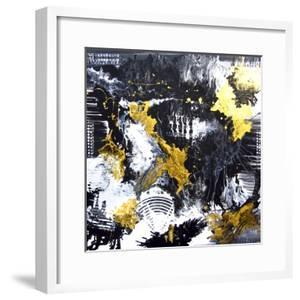Abstract Hand Painted Black and White with Gold Background, Acrylic Painting on Canvas, Wallpaper, by Artlusy