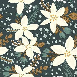 Hand Drawn Floral Seamless Vector Pattern. Winter and Fall Themed Background. Seamless Texture With by artnis