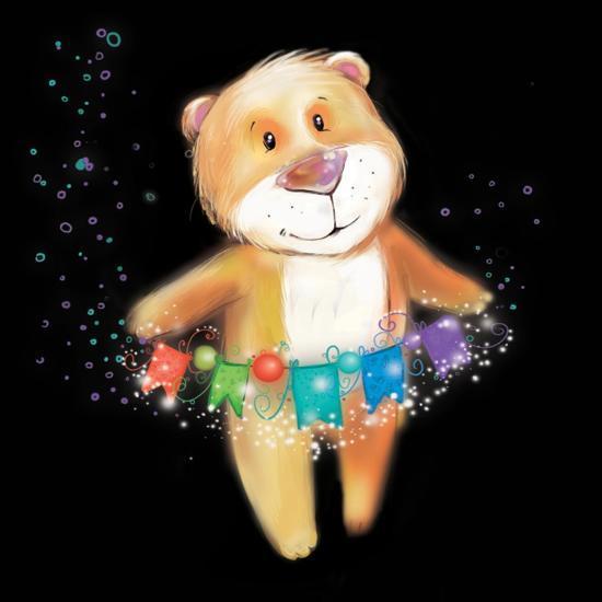 ?Artoon Bear on a Black Background. New Year-STRYHELSKAYA VOLHA-Art Print
