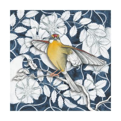 Arts and Crafts Bird IV Indigo-Elyse DeNeige-Art Print