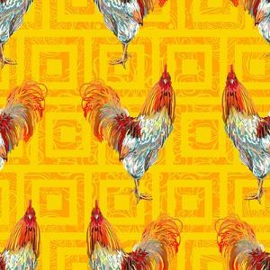 Vintage Seamless Pattern with Farm Animal Rooster. Sketch Style. Vector Background. Perfect for Wal by artskvortsova