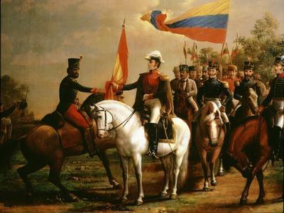 Sim�n Bol�r Presenting Flag of Liberation after Battle of Carabobo, 24 June 1821