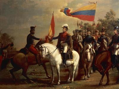 Simon Bolivar Honoring the Flag after Battle of Carabobo, June 24, 1821