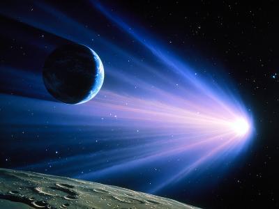 Artwork of a Comet Passing Earth-Joe Tucciarone-Photographic Print