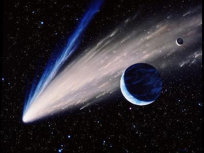 Artwork of a Comet Passing the Earth-Joe Tucciarone-Photographic Print