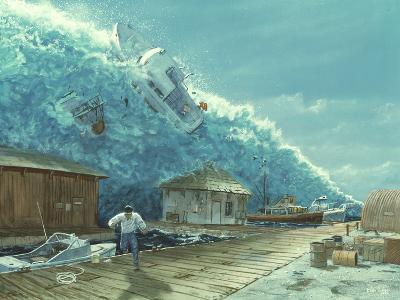 Artwork of a Tsunami Destroying a Small Harbour-Chris Butler-Photographic Print