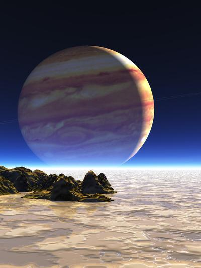 Artwork of Europa's Surface with Jupiter In Sky-Julian Baum-Photographic Print