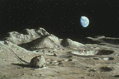 Artwork of Moon's Surface with Earth In the Sky-Ludek Pesek-Photographic Print