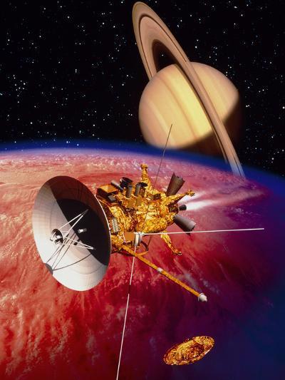 Artwork of the Cassini Spacecraft Near Titan-David Ducros-Photographic Print