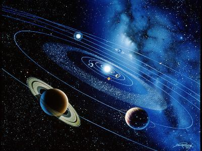 Artwork of the Solar System with Planetary Orbits-Detlev Van Ravenswaay-Photographic Print