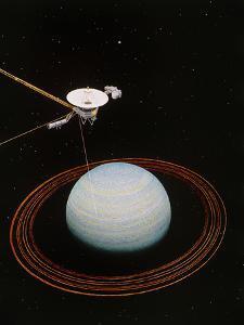 Artwork Showing Voyager 2 Nearing Uranus