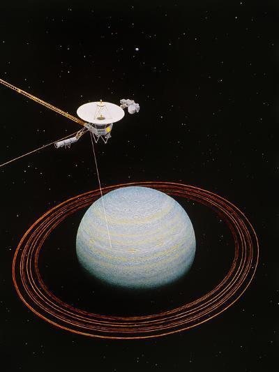 Artwork Showing Voyager 2 Nearing Uranus--Photographic Print