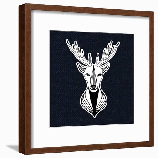 Artwork with Deer Head. Hipster Print, Sticker or Element for Design. Vector Line Art Hipster Illus-worldion-Framed Art Print
