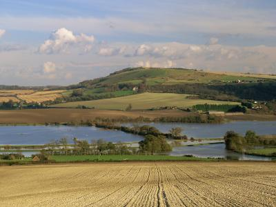 Arun Valley in Food, with South Downs Beyond, Bury, Sussex, England, United Kingdom, Europe-Pearl Bucknall-Photographic Print