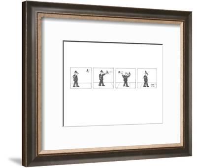 As a man walks down the street he sees a hat flying towards him.  He catch? - New Yorker Cartoon-Joseph Farris-Framed Premium Giclee Print