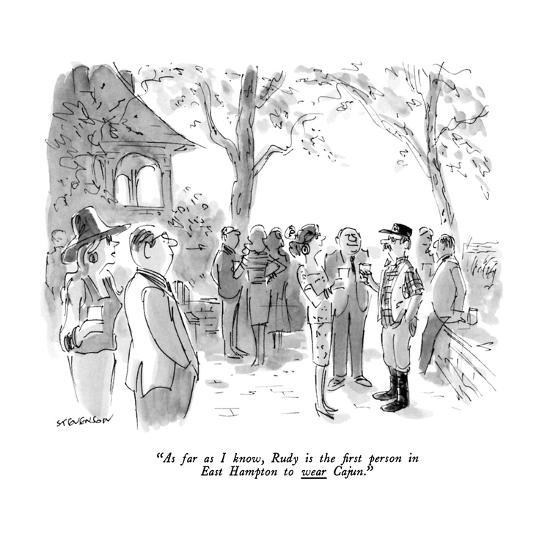 """""""As far as I know, Rudy is the first person in East Hampton to wear Cajun.?"""" - New Yorker Cartoon-James Stevenson-Premium Giclee Print"""