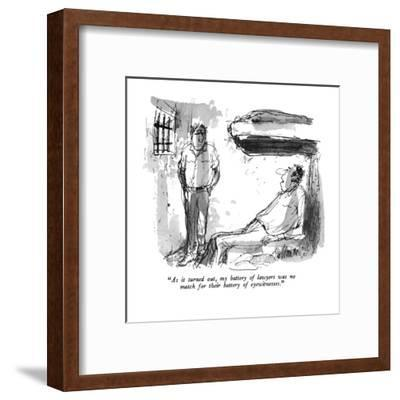 """""""As it turned out my battery of lawyers was no match for their battery of ?"""" - New Yorker Cartoon-Joseph Mirachi-Framed Premium Giclee Print"""