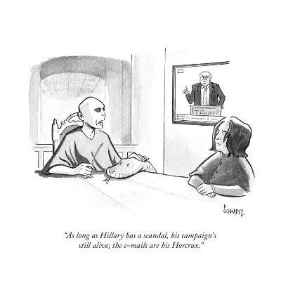 """""""As long as Hillary has a scandal, his campaign's still alive; the e-mails?"""" - Cartoon-Benjamin Schwartz-Premium Giclee Print"""