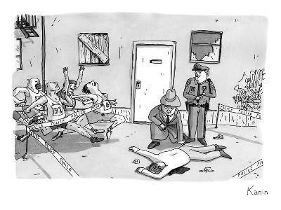 As police and a detective examine a murder scene, runners run through the ? - New Yorker Cartoon-Zachary Kanin-Premium Giclee Print
