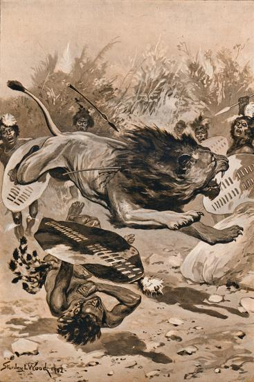 As The Lion Charged, 1902, (1903)-Stanley Llewellyn Wood-Giclee Print
