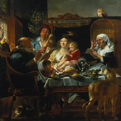 """""""As the Old Sing, the Young Pipe""""-Jacob Jordaens-Giclee Print"""